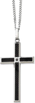Black Diamond FINE JEWELRY Mens Color-Enhanced Accent Stainless Steel Cross Pendant