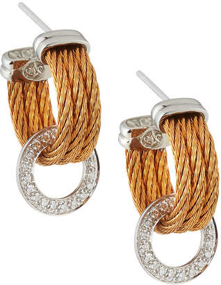 Alor Steel 3-Row Hoop & Diamond Pave Drop Earrings, Rose