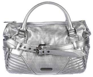 Burberry Metallic Leather Handle Bag Silver Metallic Leather Handle Bag