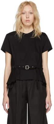 Noir Kei Ninomiya Black Panelled Belt T-Shirt