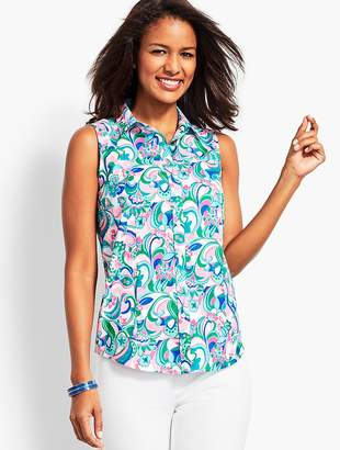 Talbots The Sleeveless Perfect Shirt - Art-Scroll Print