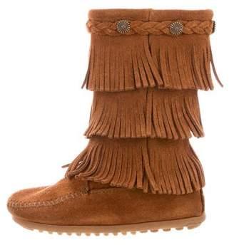 Minnetonka Girls' Fringe-Trimmed Round-Toe Boots