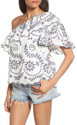 Women's Devlin Judith Embroidered Cotton One-Shoulder Top