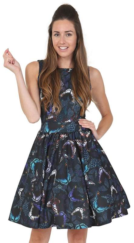 Lady Vintage - Black Midnight Butterfly Tea Dress