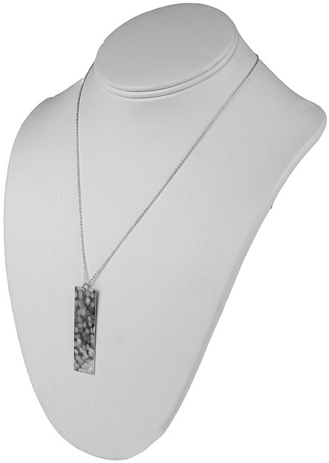 Nashelle Surface Necklace with Rectangle Pendant in Silver