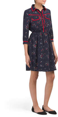 Juniors Long Sleeve Shirt Dress