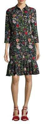 Adrianna Papell Floral Drop-Waist Shirt Dress