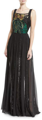 Elie Saab Sleeveless Floral-Embroidered Bodice Chiffon Lace Skirt Evening Gown