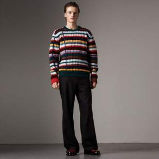 Burberry Striped Wool Cashmere Cotton Sweater