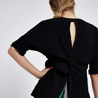 River Island Womens Black twist back short sleeve blouse