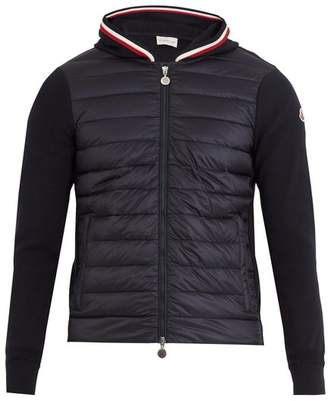 Moncler - Hooded Cotton Jersey And Shell Down Jacket - Mens - Navy