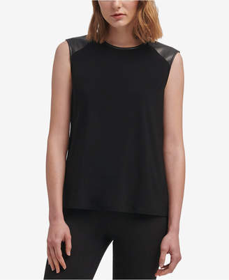 DKNY Faux-Leather-Trim Top