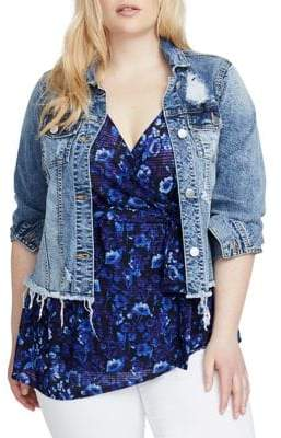 Rachel Roy Plus Curvy Destructed Denim Cropped Jacket