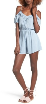 Women's Lush Embroidered Cold Shoulder Romper $49 thestylecure.com