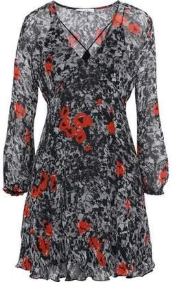 IRO Fluted Printed Georgette Mini Dress