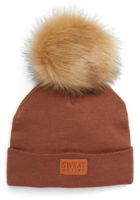 SWEAT ACTIVE Faux Fur Pom Beanie