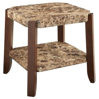 ACME Furniture ACME Dacia End Table, Faux Marble & Brown