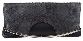 Hayward Python-Trimmed Fold-Over Clutch