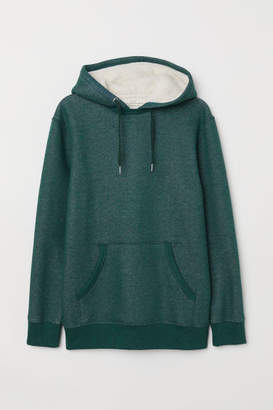 H&M Hooded Sweatshirt with Pile - Green