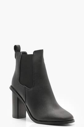 boohoo Elastic Gusset Block Heel Shoe Boots