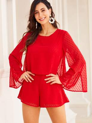 Shein SBetro Swiss Dot Cut-out Back Split Sleeve Romper