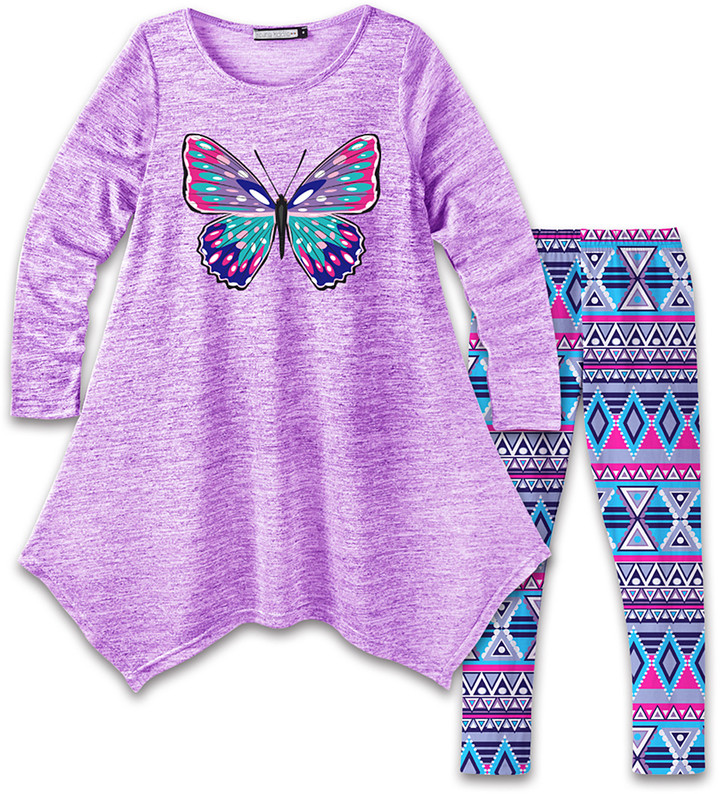 Purple Butterfly Handkerchief Dress & Blue Geometric Leggings - Girls
