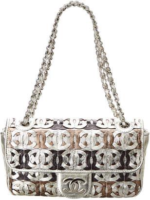 Chanel Silver Metallic Leather Cc Cutout Jumbo Flap Bag
