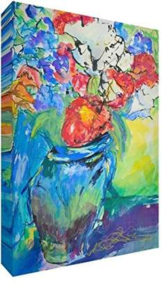 Camilla And Marc Feel Good Art Original/Gallery Wrapped Box Canvas with Solid Front Panel Blooming Enormous Vase of Flowers by Artist Valerie Johnson (60 x 40 x 4 cm, Large)