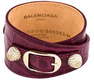 Balenciaga Embossed Leather Wrap Bracelet