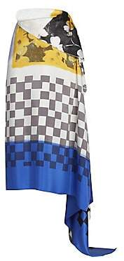 Dries Van Noten Women's Scarf Print Silk Wrap Skirt
