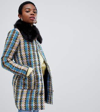 Glamorous Petite coat with faux fur collar in metallic flecked tweed
