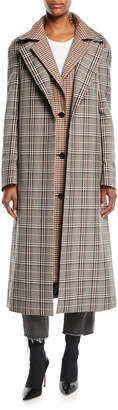 Monse Plaid Combo Double-Collar Single-Breasted Long Wool-Blend Coat