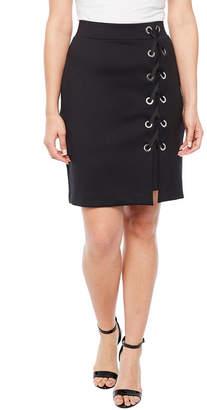 Bold Elements Scuba Lace Up Pencil Skirt