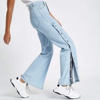 River Island Womens Blue wide leg popper side jeans