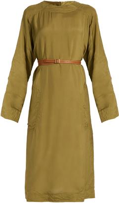 Long-sleeve sateen midi dress