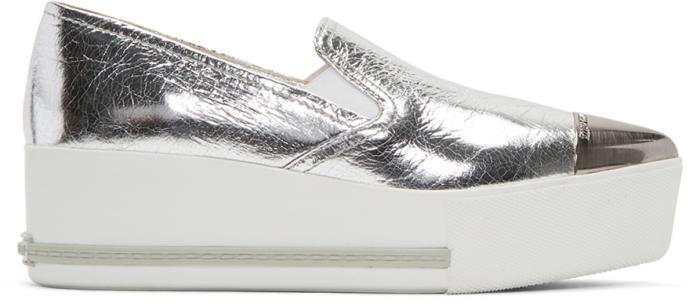 Miu Miu Silver Pointed Slip-On Sneakers