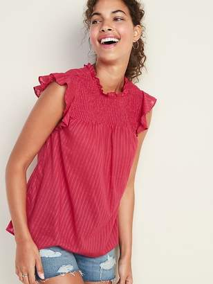 Old Navy Smocked-Yoke Ruffle-Trim Sleeveless Top for Women