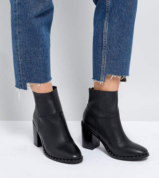 Asos DESIGN Wide Fit Envy leather ankle boots