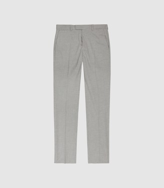 Gilly - Slim Fit Checked Trousers in Grey