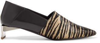 Loewe Tiger-print Pony Hair And Leather Collapsible-heel Pumps - Sand