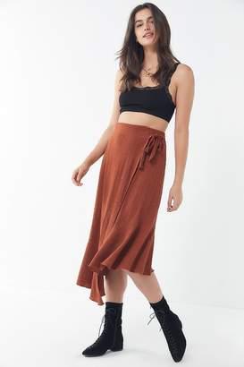 Urban Outfitters Ryan Asymmetrical Midi Wrap Skirt
