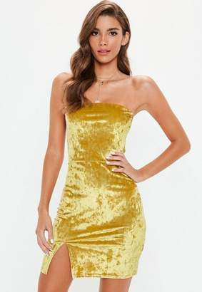 Missguided Gold Crushed Velvet Split Hem Mini Dress, Gold