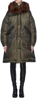 Sacai Detachable faux fur hood oversized down puffer jacket