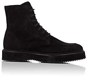 Barneys New York Men's Oiled Suede Side-Zip Boots-Black