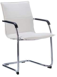 Echo Cantilever Chair White Bonded Leather With Arms