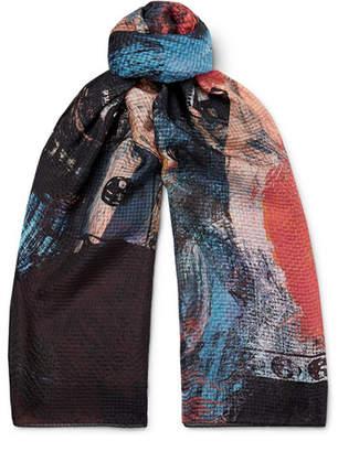 Alexander McQueen Printed Silk-Seersucker Scarf