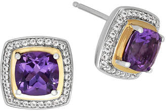 FINE JEWELRY Amethyst & White Topaz Silver with 14K Yellow Gold Earrings