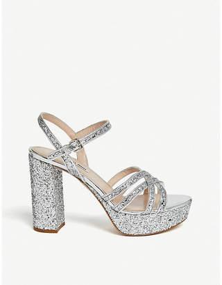 Miu Miu Criss-cross strap glitter platform sandals