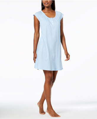 Miss Elaine Dotted Mesh-Trim Nightgown