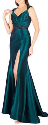 Mac Duggal Sweetheart Sleeveless Taffeta Gown with Embellished Waist